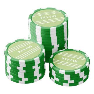 Lime Green Stripes custom monogram poker chips