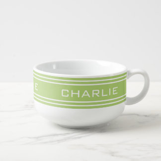 Lime Green Stripes custom monogram soup mug
