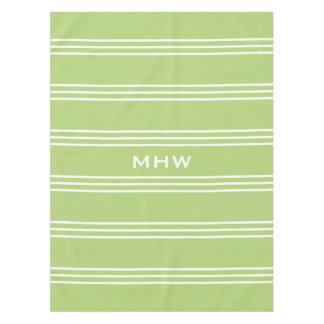 Lime Green Stripes custom monogram table cloths