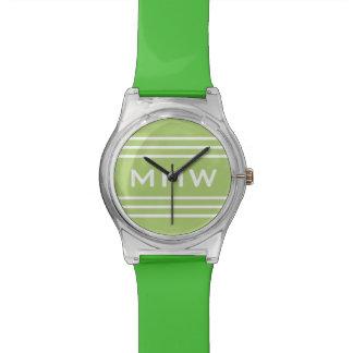 Lime Green Stripes custom monogram watch