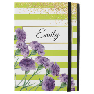"Lime Green Stripes Purple Carnations Gold Confetti iPad Pro 12.9"" Case"