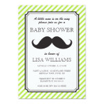 Lime green stripes retro moustache bash baby personalised invites