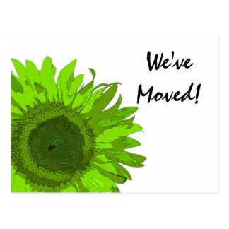 Lime Green Sunflower Change of Address Postcard