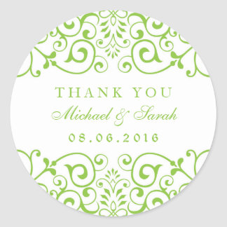 Lime Green Swirl Flower Thank You Sticker