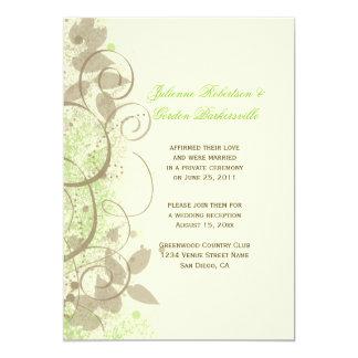 Lime Green Tan Ivory Swirls Leaves Post Wedding Card