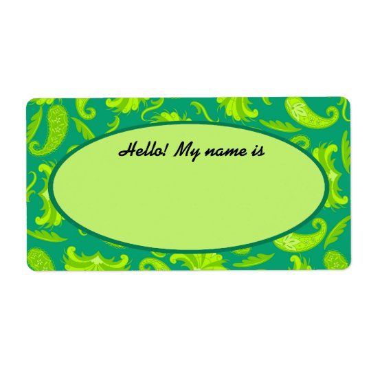 Lime Green & Teal Paisley Name Tag Label Shipping Label