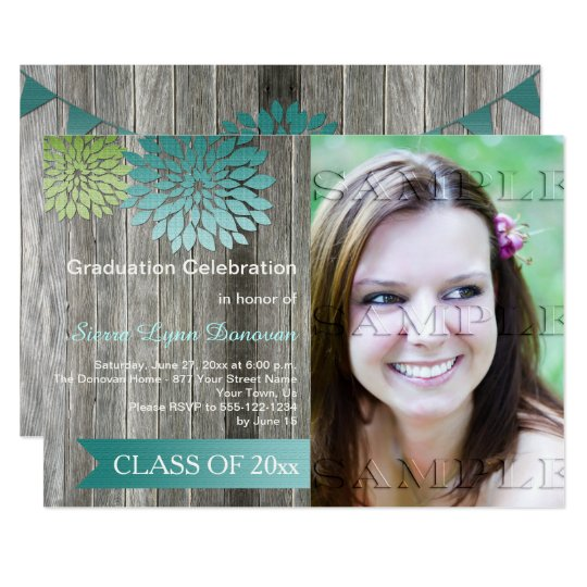Lime Green Teal Petals Barn Wood Graduation Party