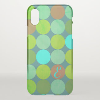 Lime Green Teal Turquoise & Rust Circles Monogram iPhone X Case