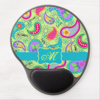Lime Green Turquoise Modern Paisley Monogram Gel Mouse Mat