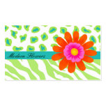 Lime Green, & Turquoise Teal Zebra & Cheetah Business Card Templates