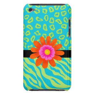 Lime Green & Turquoise Zebra & Cheetah Pink Flower iPod Case-Mate Cases