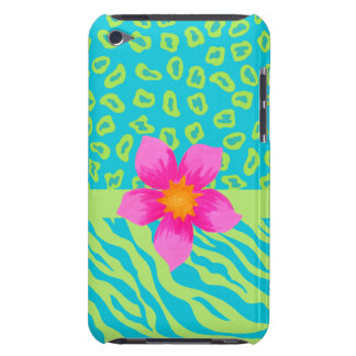 Lime Green & Turquoise Zebra & Cheetah Pink Flower Case-Mate iPod Touch Case