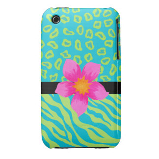 Lime Green & Turquoise Zebra & Cheetah Pink Flower iPhone 3 Cover