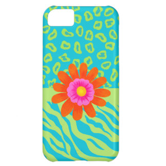 Lime Green & Turquoise Zebra & Cheetah Pink Flower iPhone 5C Case