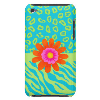 Lime Green & Turquoise Zebra & Cheetah Pink Flower iPod Touch Case-Mate Case