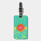 Lime Green & Turquoise Zebra & Cheetah Pink Flower Luggage Tag