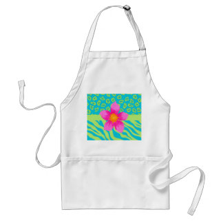 Lime Green & Turquoise Zebra & Cheetah Pink Flower Standard Apron