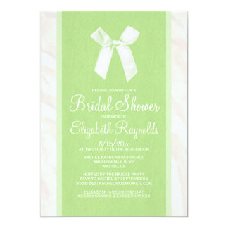 Lime Green Vintage Bow Linen Bridal Shower Invites