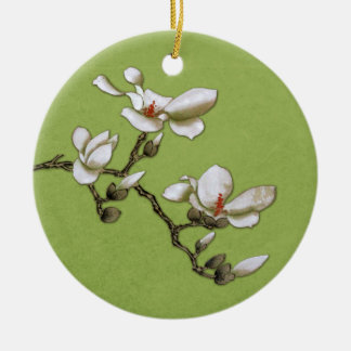 Lime Green Vintage Floral Magnolia Christmas Ornament