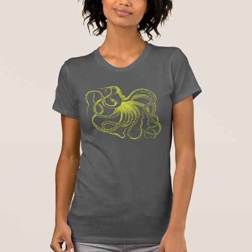 Lime Green Vintage Octopus Illustration T-shirt
