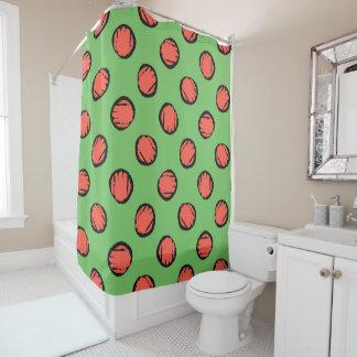 Lime Green w/  Peach Circles Dots Diagonal Pattern Shower Curtain