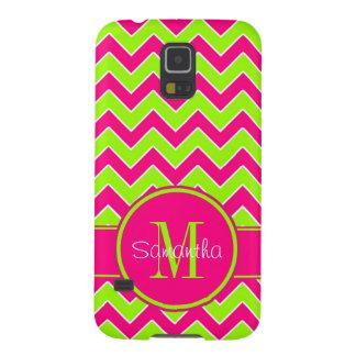 Lime Green w/ Pink Chevron Pattern Custom Monogram Galaxy S5 Cover