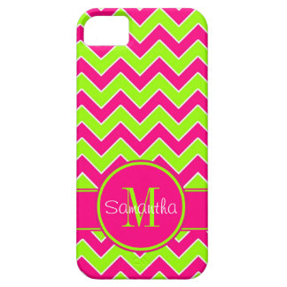 Lime Green w/ Pink Chevron Pattern Custom Monogram iPhone 5 Cover