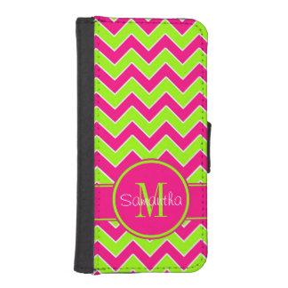 Lime Green w/ Pink Chevron Pattern Custom Monogram iPhone SE/5/5s Wallet Case