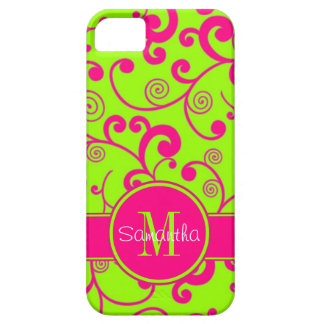 Lime Green w/ Pink Scroll Design Custom Monogram iPhone 5 Cases