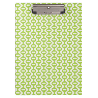 Lime Green Wavy Retro Pattern Clipboard
