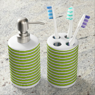 Lime Green, White and Black Stripes Bathroom Set