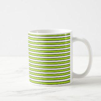 Lime Green, White and Black Stripes Coffee Mug