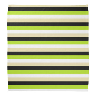 Lime Green, White, Beige and Black Stripes Kerchiefs