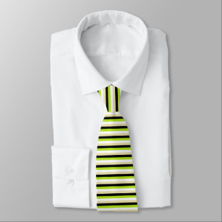 Lime Green, White, Beige and Black Stripes Tie