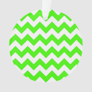 Lime Green White Chevron Zig-Zag Pattern Ornament