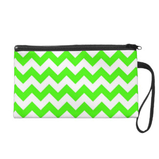 Lime Green White Chevron Zig-Zag Pattern Wristlet