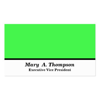Lime Green White Color block Double-Sided Standard Business Cards (Pack Of 100)