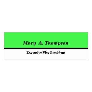 Lime Green White Color block Double-Sided Mini Business Cards (Pack Of 20)