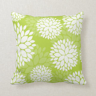 Lime Green White Floral Pattern Throw Pillow