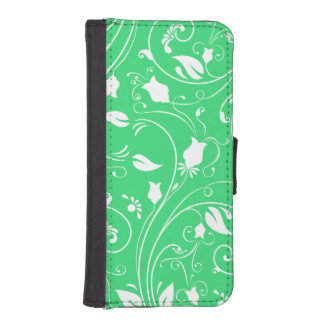 Lime Green, White Floral Swirls; Flowers Phone Wallet Case