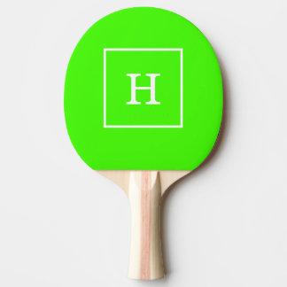Lime Green White Framed Initial Monogram Ping Pong Paddle