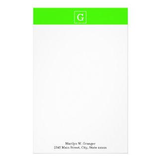 Lime Green White Framed Initial Monogram Stationery