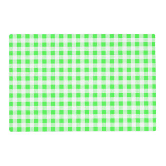 Lime Green White Gingham Pattern Laminated Placemat