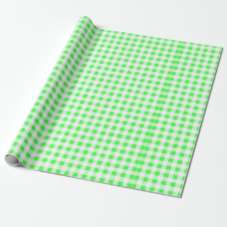 Lime Green White Gingham Pattern Wrapping Paper