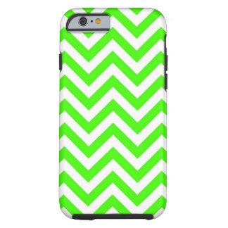 Lime Green White Large Chevron ZigZag Pattern Tough iPhone 6 Case
