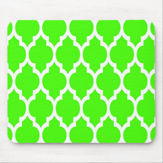 Lime Green White Moroccan Quatrefoil Pattern #4 Mouse Pad