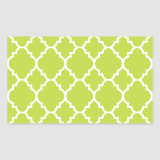 Lime Green White Quatrefoil Moroccan Pattern Rectangular Sticker