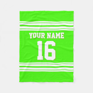 Lime Green White Sports Jersey Fleece Blanket