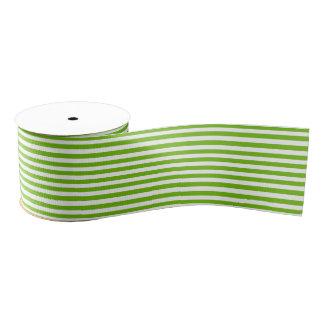 Lime Green-White Stripes Pattern Grosgrain Ribbon