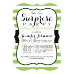 Lime Green & White Stripes Surprise Party 13 Cm X 18 Cm Invitation Card
